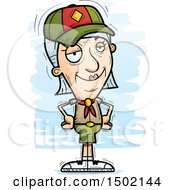 Clipart Of A Confident White Senior Female Scout Royalty Free Vector Illustration