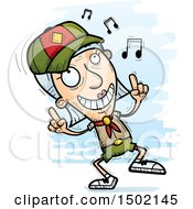 Clipart Of A White Senior Female Scout Doing A Happy Dance Royalty Free Vector Illustration