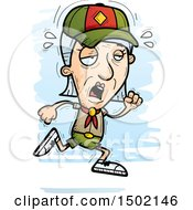 Clipart Of A Tired Running White Senior Female Scout Royalty Free Vector Illustration