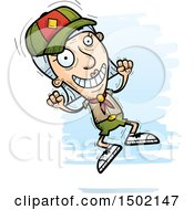Clipart Of A Jumping White Senior Female Scout Royalty Free Vector Illustration
