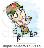 Clipart Of A Running White Senior Female Scout Royalty Free Vector Illustration