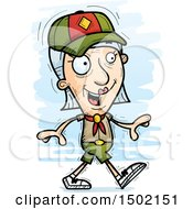 Clipart Of A Walking White Senior Female Scout Royalty Free Vector Illustration