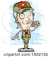 Clipart Of A Waving White Senior Female Scout Royalty Free Vector Illustration