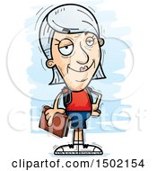 Clipart Of A Confident White Senior Female Community College Student Royalty Free Vector Illustration