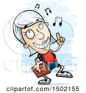 Clipart Of A White Senior Female Community College Student Doing A Happy Dance Royalty Free Vector Illustration