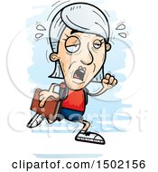 Clipart Of A Tired Running White Senior Female Community College Student Royalty Free Vector Illustration