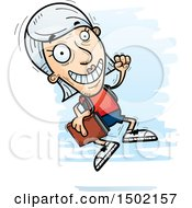Clipart Of A Jumping White Senior Female Community College Student Royalty Free Vector Illustration
