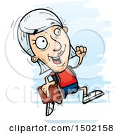 Clipart Of A Running White Senior Female Community College Student Royalty Free Vector Illustration