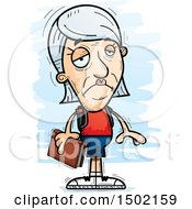 Clipart Of A Sad White Senior Female Community College Student Royalty Free Vector Illustration