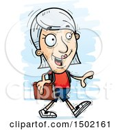 Clipart Of A Walking White Senior Female Community College Student Royalty Free Vector Illustration