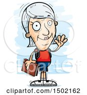 Clipart Of A Waving White Senior Female Community College Student Royalty Free Vector Illustration