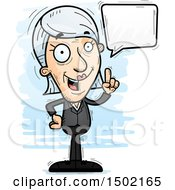 Clipart Of A Talking Caucasian Senior Business Woman Royalty Free Vector Illustration