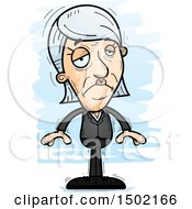 Clipart Of A Sad Caucasian Senior Business Woman Royalty Free Vector Illustration