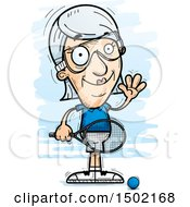Clipart Of A Waving Caucasian Senior Woman Racquetball Player Royalty Free Vector Illustration