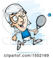 Clipart Of A Running Caucasian Senior Woman Racquetball Player Royalty Free Vector Illustration