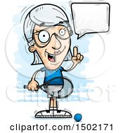 Clipart Of A Talking Caucasian Senior Woman Racquetball Player Royalty Free Vector Illustration