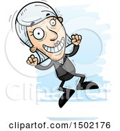 Clipart Of A Jumping Caucasian Senior Business Woman Royalty Free Vector Illustration