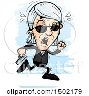 Clipart Of A Tired Running Caucasian Senior Woman Secret Service Agent Royalty Free Vector Illustration