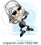 Clipart Of A Jumping Caucasian Senior Woman Secret Service Agent Royalty Free Vector Illustration