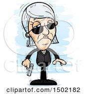 Clipart Of A Sad Caucasian Senior Woman Secret Service Agent Royalty Free Vector Illustration