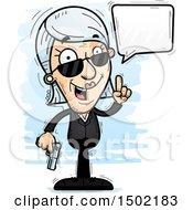 Clipart Of A Talking Caucasian Senior Woman Secret Service Agent Royalty Free Vector Illustration