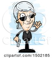 Clipart Of A Waving Caucasian Senior Woman Secret Service Agent Royalty Free Vector Illustration