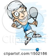 Clipart Of A Jumping Caucasian Senior Woman Racquetball Player Royalty Free Vector Illustration
