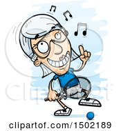 Clipart Of A Dancing Caucasian Senior Woman Racquetball Player Royalty Free Vector Illustration