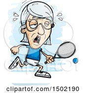 Clipart Of A Tired Caucasian Senior Woman Racquetball Player Royalty Free Vector Illustration