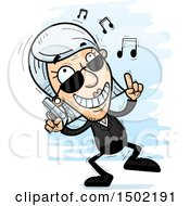 Clipart Of A Happy Dancing Caucasian Senior Woman Secret Service Agent Royalty Free Vector Illustration