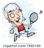 Clipart Of A Running Caucasian Senior Woman Badminton Player Royalty Free Vector Illustration