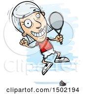 Clipart Of A Jumping Caucasian Senior Woman Badminton Player Royalty Free Vector Illustration