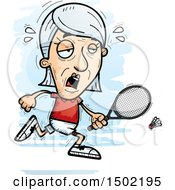 Clipart Of A Tired Caucasian Senior Woman Badminton Player Royalty Free Vector Illustration