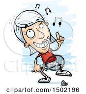 Clipart Of A Happy Dancing Caucasian Senior Woman Badminton Player Royalty Free Vector Illustration