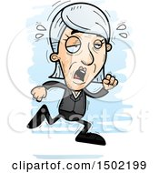 Clipart Of A Tired Running Caucasian Senior Business Woman Royalty Free Vector Illustration