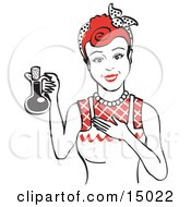 Happy Woman In An Apron Holding Up A Bottle Of Cooking Oil Clipart Illustration