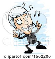 Clipart Of A Happy Dancing Caucasian Senior Business Woman Royalty Free Vector Illustration