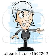Clipart Of A Mad Pointing Caucasian Senior Business Woman Royalty Free Vector Illustration