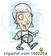 Clipart Of A Walking Caucasian Senior Woman Tennis Player Royalty Free Vector Illustration