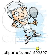Clipart Of A Jumping Caucasian Senior Woman Tennis Player Royalty Free Vector Illustration