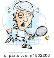 Clipart Of A Tired Caucasian Senior Woman Tennis Player Royalty Free Vector Illustration
