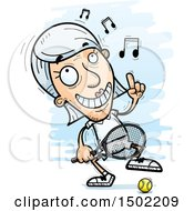 Clipart Of A Happy Dancing Caucasian Senior Woman Tennis Player Royalty Free Vector Illustration