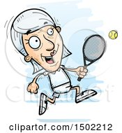 Clipart Of A Running Caucasian Senior Woman Tennis Player Royalty Free Vector Illustration