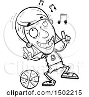 Clipart Of A Black And White Senior Female Basketball Player Doing A Happy Dance Royalty Free Vector Illustration