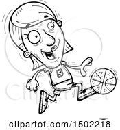 Clipart Of A Black And White Running Senior Female Basketball Player Royalty Free Vector Illustration