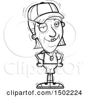 Clipart Of A Black And White Confident Senior Female Coach Royalty Free Vector Illustration