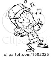 Clipart Of A Black And White Senior Female Coach Doing A Happy Dance Royalty Free Vector Illustration