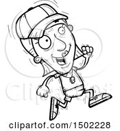 Clipart Of A Black And White Running Senior Female Coach Royalty Free Vector Illustration