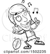 Clipart Of A Black And White Senior Female Football Player Doing A Happy Dance Royalty Free Vector Illustration