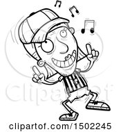 Clipart Of A Black And White Senior Female Referee Doing A Happy Dance Royalty Free Vector Illustration